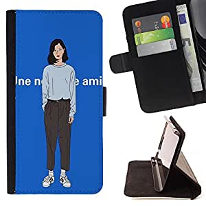 King Case - FOR Sony Xperia Z2 D6502 - ?you come back? - Prima caja de la PU billetera de cuero con ranuras para tarjetas, efectivo Compartimiento desmontable y correa para la mu?eca