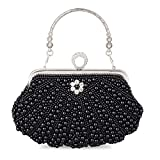 Baglamor Women's Pearl Crystal Bag Wedding Party Clutch Handbag Luxury Purses(Black)