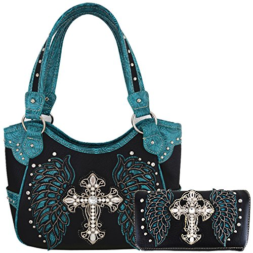 Western Style Cross Laser Cut Wings Purse Concealed Carry Handbags Women Country Shoulder Bag Wallet Set (Black/Turq Set)