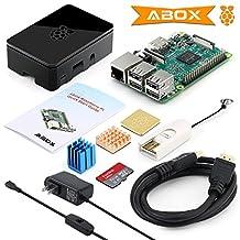 2017 GooBang Doo ABOX Raspberry Pi 3 Starter Kit with Pi 3 Model B Barebones Computer Motherboard 64bit Quad Core,32G Micro SD Card,HDMI cable,2.5A Power Supply,Black Case