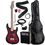 Raptor Dual Humbucker Electric Guitar, Full Size, Starter Pack with Amp, Gig Bag, Strap, Cable, Replacement Strings and Exclusive Raptor Picks, Red Burst