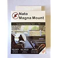Nato Magna Mount [4 Pack] Magnetic Car Mount Holder for iPhone X 8 7s 6s Plus 5s Samsung Galaxy S8 Edge S7 S6 Note 5 Note 4, Any Cell Phones or Tablets, Universal 360 Degree, Devices Less than 2 Ib