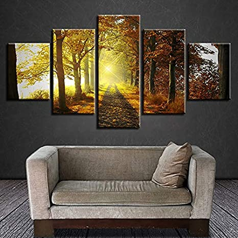 Cuadro en lienzo pintura al óleo artista de la pared decoración de la casa 5 senderos del bosque paisaje del sol imágenes del cartel para la sala de estar