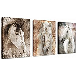 """Canvas Wall Art Horse Picture Prints Modern Horses Artwork Vintage Abstract Painting Giclee Prints Contemporary Canvas Art for Home Office Decoration Framed Ready to Hang 12"""" x 16"""" 3 Pieces"""