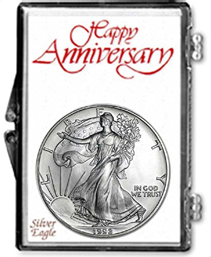 1992 - 1 Ounce American Silver Eagle in Anniversary Holder Dollar Uncirculated Us (American Silver Eagle Dollar Coin)