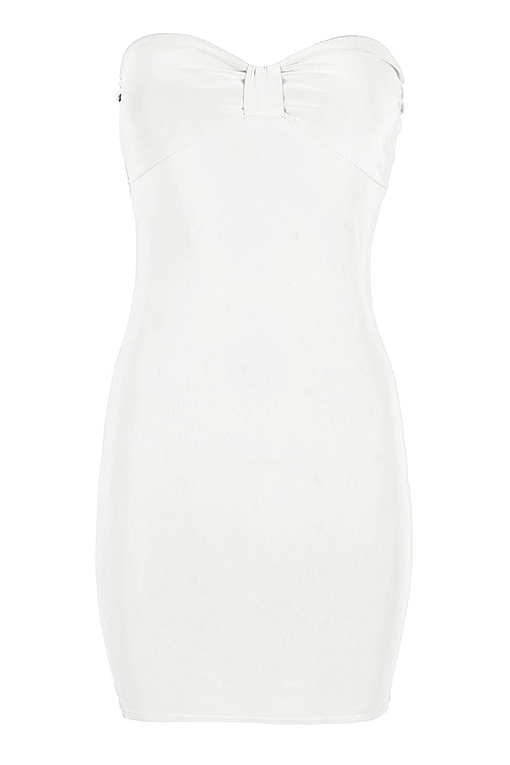 Oops Outlet Women's Bow Knot Front Stretchy Tunic Fitted Bodycon Mini Dress Top
