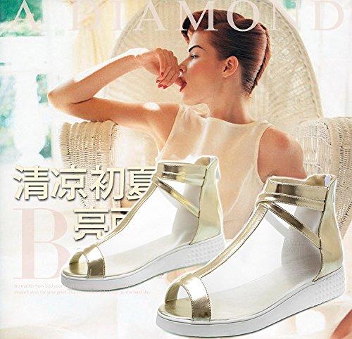 Coreana ZHZNVX y Transpirables Verano Malla y Cómodos Tendencia Salvajes Punta Zapatos Zapatos Abierta Zapatos Golden de Versión Sandalias de con la Primavera Planos de de rAIqr