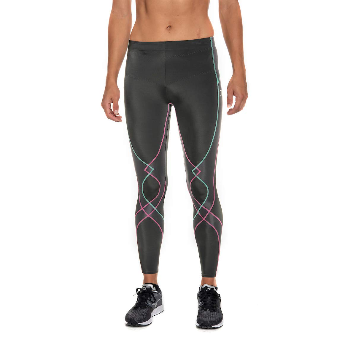 CW-X Women's Stabilyx Joint Support Compression Tight, Grey/Pink/Turquoise, Small