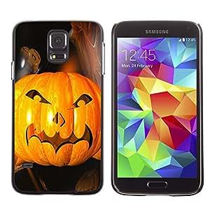 Samsung Galaxy S5 - Metal de aluminio y de plástico duro Caja del teléfono - Negro - Halloween Bat Pumpkin