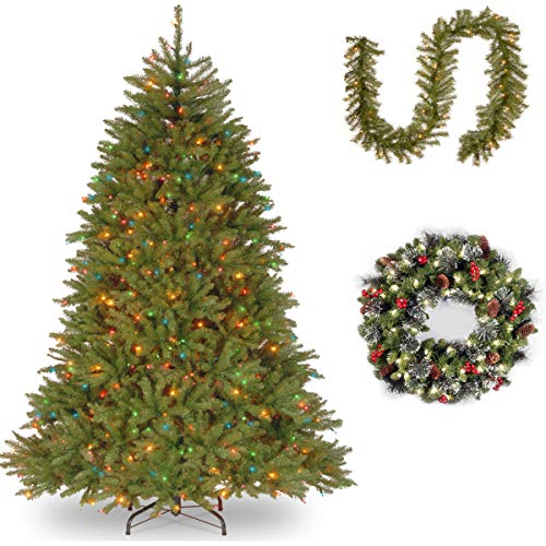 7 1/2' Dunhill Fir Hinged Tree Multi Lights with 9' x 10