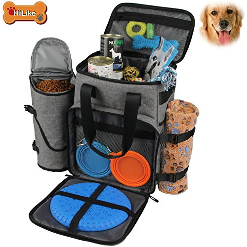 (Hilike Premium Pet Travel Bag for Dog & Cat | Week Away Tote Organizer Bag for Dogs Travel | Incudes 1 Dog Tote Bag,1 Dog Food Carrier Bag, 2 Silicone Collapsible Bowls,1 Blanket,1 Frisbee(Grey))