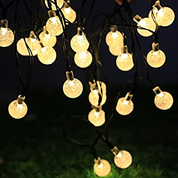 30LED String Fary Light Solar Powered Bulbs Ball Waterproof Outdoor Garden Christmas Wedding Decoration, Bubble Lighting for Cafes, Camping and Outdoors (White)