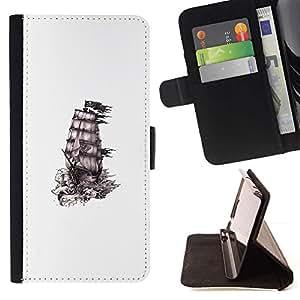 Momo Phone Case / Flip Funda de Cuero Case Cover - Barco Piratas de tinta blanca Negro Limpiar - Samsung Galaxy E5 E500