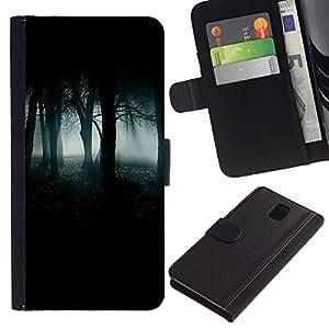 APlus Cases // Samsung Galaxy Note 3 III N9000 N9002 N9005 // Noche Bosque Verde Niebla Niebla Oscuro Embrujado // Cuero PU Delgado caso Billetera cubierta Shell Armor Funda Case Cover Wallet Credit Card