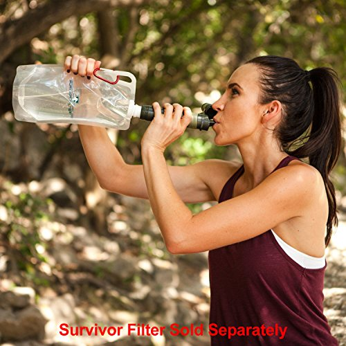 Survivor Filter Collapsible Canteens (33oz) 2 Pack (2L Total) - with Extra Durable Carabiners and Handles. Squeeze Water through your Survivor Filter or Use as Water Bottles. Light and BPA Free.