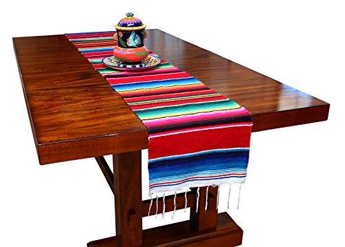 Genuine Mexican Table Runner Saltillo Serape Colorful Striped Sarape Made in Mexico 83