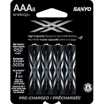 eneloop HR-4UWXA8A XX 950mAh Typical/900mAh Minimum High Capacity AAA Ni-MH Pre-Charged Rechargeable Batteries, 8 Pack
