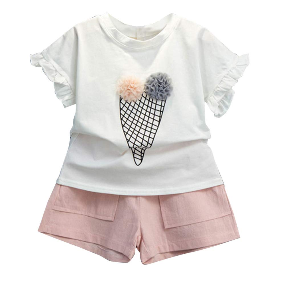 Hopscotch Girls Cotton,Polyester Applique Half Sleeves Top and Short Set in Pink Color