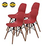 Modern Dining Chairs -No.1 Tufted Mid Century Eames Style DSW Side Chairs, 300 lbs Capacity,17.8 inch Seated Height,Sturdy Wooden Legs,Upgraded Base-Salmon Red,Set of 4