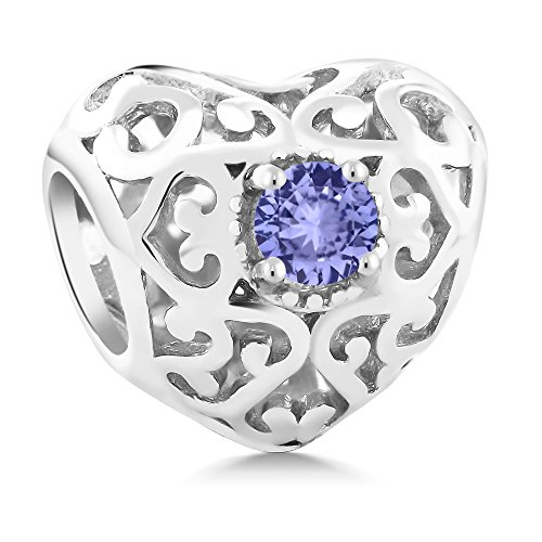 (Gem Stone King Sterling Silver Round Blue Tanzanite Bracelet Bead Charm Compatible W- Pandora)