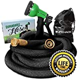 MrLifeHack Expandable Garden Hose (50ft) - Strongest Expanding Water Hose - Lightweight, Durable & Flexible - Bonus Nozzle Sprayer & Storage Bag