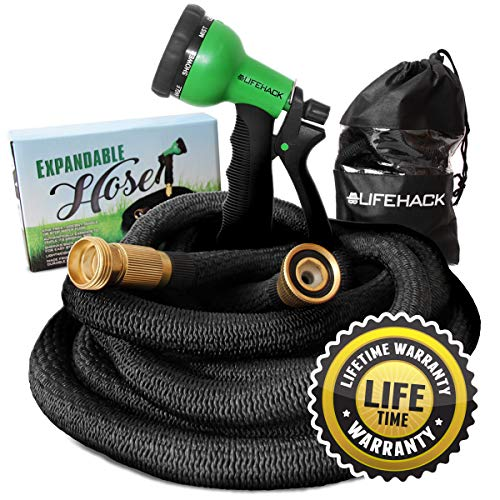 MrLifeHack Expandable Garden Hose (50ft) – Kink Free Expanding Water Hose – Leak Proof, Lightweight & Flexible – Solid Brass Connectors – Bonus 8 Function Nozzle Sprayer & Storage Bag