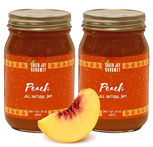 - Green Jay Gourmet Peach Jam - All-Natural Fruit Jam with Peaches & Lemon Juice - Vegan, Gluten-free Jam - Contains No Preservatives or Corn Syrup - Made in USA - 40 Ounces