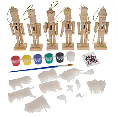 """5"""" Set of 6 Blank Unpainted Wooden Nutcracker Figurines - Christmas Ornaments Paint your Own DIY Craft Kit"""