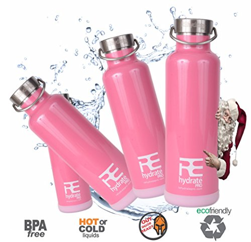 Rehydrate Pro (Pink 25oz) Double-Insulated Stainless Steel Water Vacuum Bottle Flask -Compatible to Swell Yeti Hydro and Klean Kanteen for Hot or Cold Drinks + Bonus 'Flip N Sip' Sports Cap