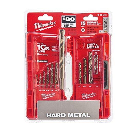 Milwaukee Cobalt Drill Bit - Milwaukee 48-89-2331 15-Piece Cobalt Red Helix Secure Grip Drill Bit Set w/ Hard Plastic Foldout Storage Case