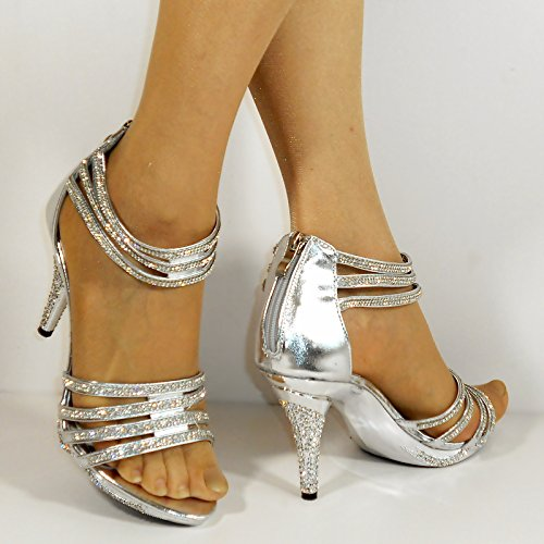 Rock on Styles Zapatos de Vestir de Material Sintético Para Mujer Plateado Plata cqb2c