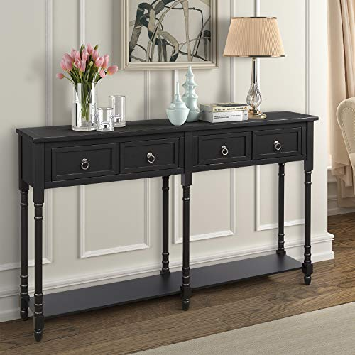 M W Rustic Wood Console Table with 2 Drawers, Sofa Table for Entryway, Hallway and Living Room, Espresso Finish