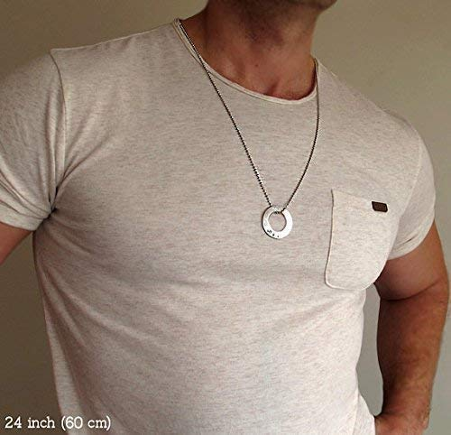 Personalized Mens Necklace, Chain with Engraved Silver Washer Pendant - Gift for Men - Men