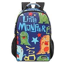 """AoMagic Children Water Resistant Backpack Nylon School Bags Bookbag 18"""" Laptop Backpack Unisex Monster"""