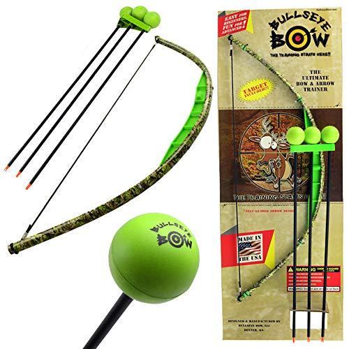 Kids Bow and Arrow Set Beginner Archery Toy Bullseye Bow Green Camo Training Kit ()