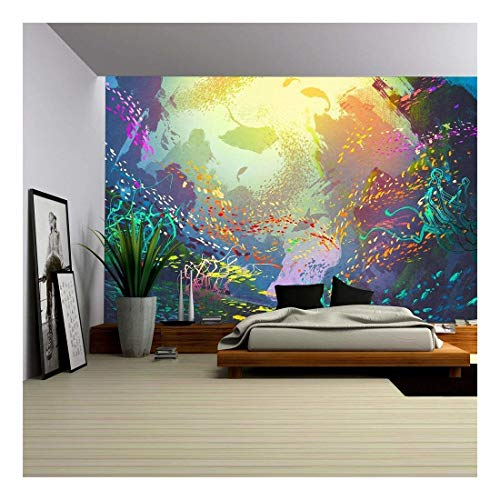Coral Reef Murals - wall26 - Illustration - Underwater with Coral Reef and Colorful Fish,Illustration Painting - Removable Wall Mural | Self-Adhesive Large Wallpaper - 100x144 inches