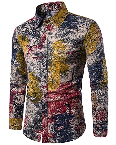 Welity Men's Floral Print Long Sleeve Casual Button Down Shirt