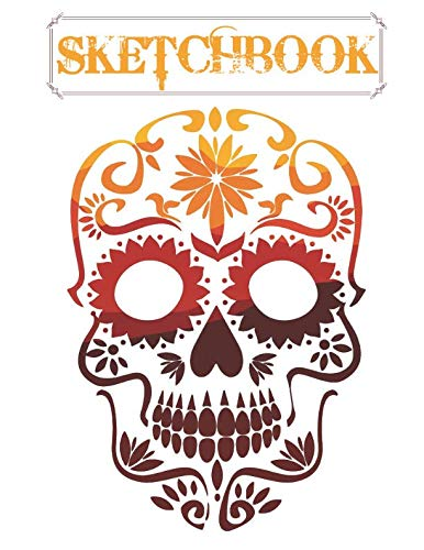 Sketchbook: Cute Skull Sketchbook for Adults/Children to Sketching, Whiting, Drawing, Journaling and Doodling, Large (8.5x11 Inch. 21.59x27.94 cm.) 120 Blank Pages (YELLOW&WHITE&RED&BROWN Pattern) ()