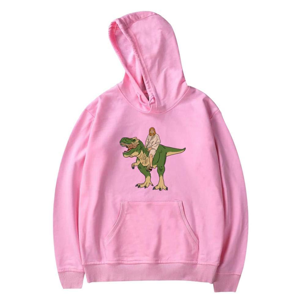 Funny Jesus On Dinosaur Printed Boys Girls Funny Hooded Creative Casual Sweatshirt Plus Velvet Pocket Kids Youth