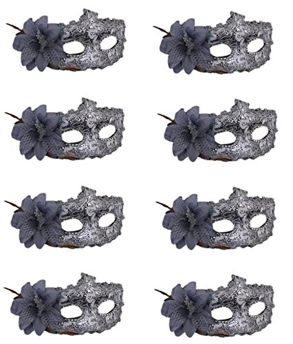 CISMARK Women's Sexy Venetian Masquerade Masks Halloween Party,Silver,One Size (Pack of 8)