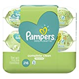 Pampers Baby Wipes Complete Clean UNSCENTED 3X Pop-Top, Hypoallergenic and Dermatologist-Tested, 216 Count