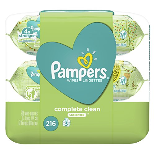 Pampers Baby Wipes Complete Clean Unscented 3X Pop-Top Pack, 216 Ct