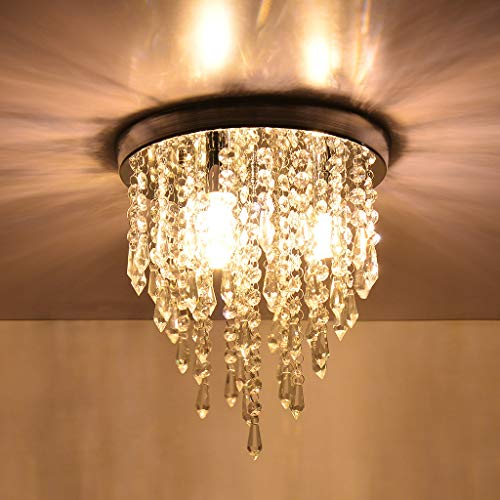 Crystal Raindrop Chandelier - Modern Hanging Linear Round Island Lighting Fixture - Ceiling Pendant Lamp LED Home Decor 3 Lights G9 - Flush Mount H9.8