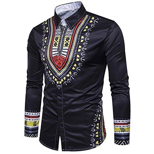 Enjoybuy Mens Shirts Dashiki Button Down Slim Fit Shirt African Ethnic Printed Long Sleeve Dress Shirt