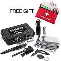 Outdoor Survival Gear + First Aid Kit Bundle - 11 Pcs...
