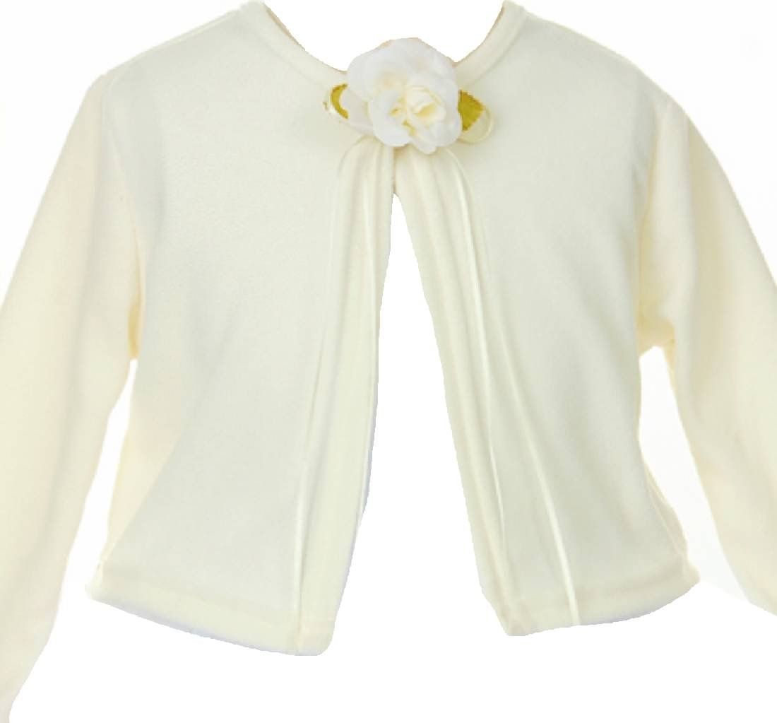 Little Girls Faux Cashmere Sweater Flower Girl Bolero Jacket Cover Ivory 2 (K13D3)