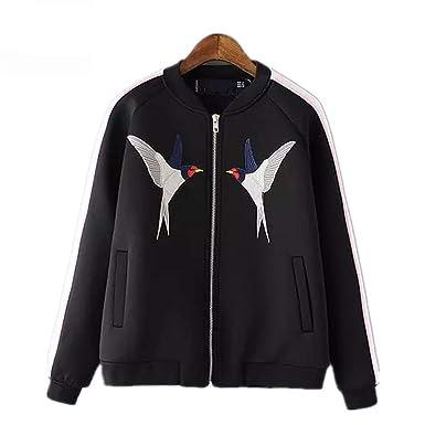 BACHDLS New Female Bird Catwalk Dress Embroidered Satin Baseball Jacket