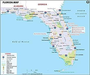 Carte Floride.Carte De Floride Lamine 91 4 Cm L X 76 2 Cm H Amazon Fr