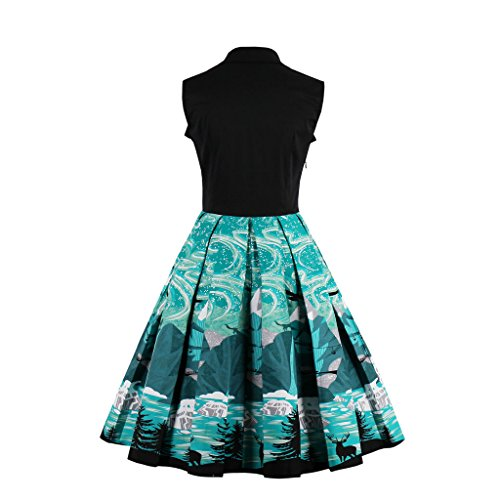 Cocktail 50er Rockabilly EU Damen M M1360 Vintage Kleid 38 Retro DISSA Blau 6qxwBZnSE