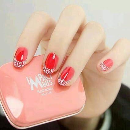 Jovono 24 uñas postizas de color rojo brillante, tamaño mediano ...